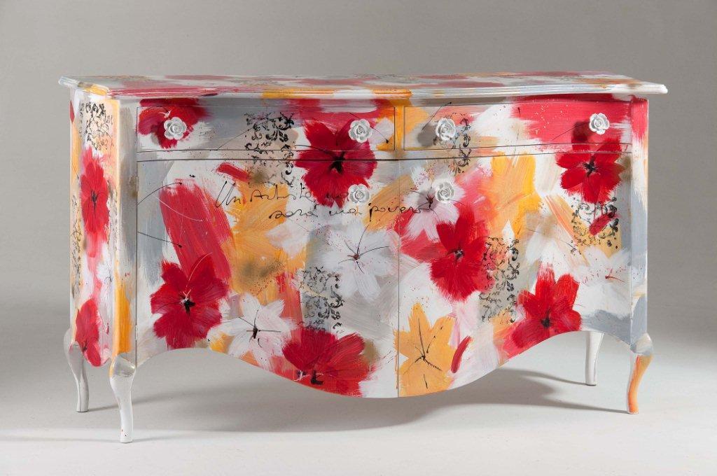 Arredi e mobili originali dipinti a mano arredamenti colorati for Credenza colorata
