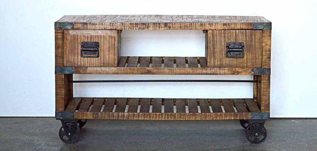 Mobili colorati country loft stile industrial ferro e legno mobili con ruote - Mobili con legno riciclato ...